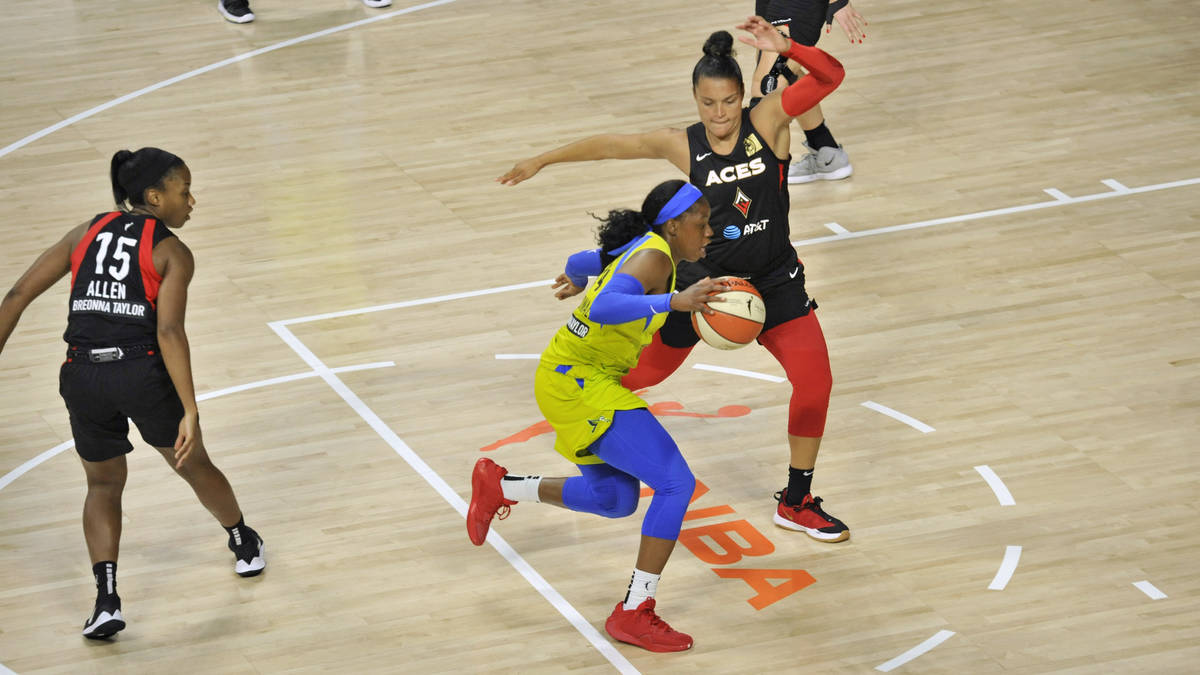 Dallas Wings' Tyasha Harris, center, moves between Las Vegas Aces' Lindsay Allen (15) and Kayla ...