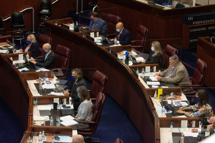 The Nevada Senate chambers on the first day of the 31st Special Session of the Nevada Legislatu ...
