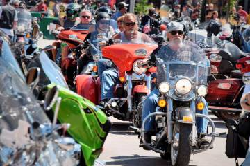 Heavy traffic is seen on legendary Main Street in Sturgis, S.D., South Dakota, in 2019. (Jim Ho ...