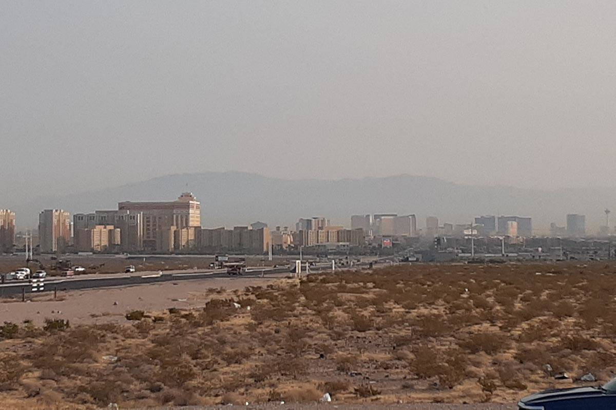 Haze in the sky over Las Vegas on Monday, Aug. 3, 2020, in a picture taken near Starr Avenue an ...