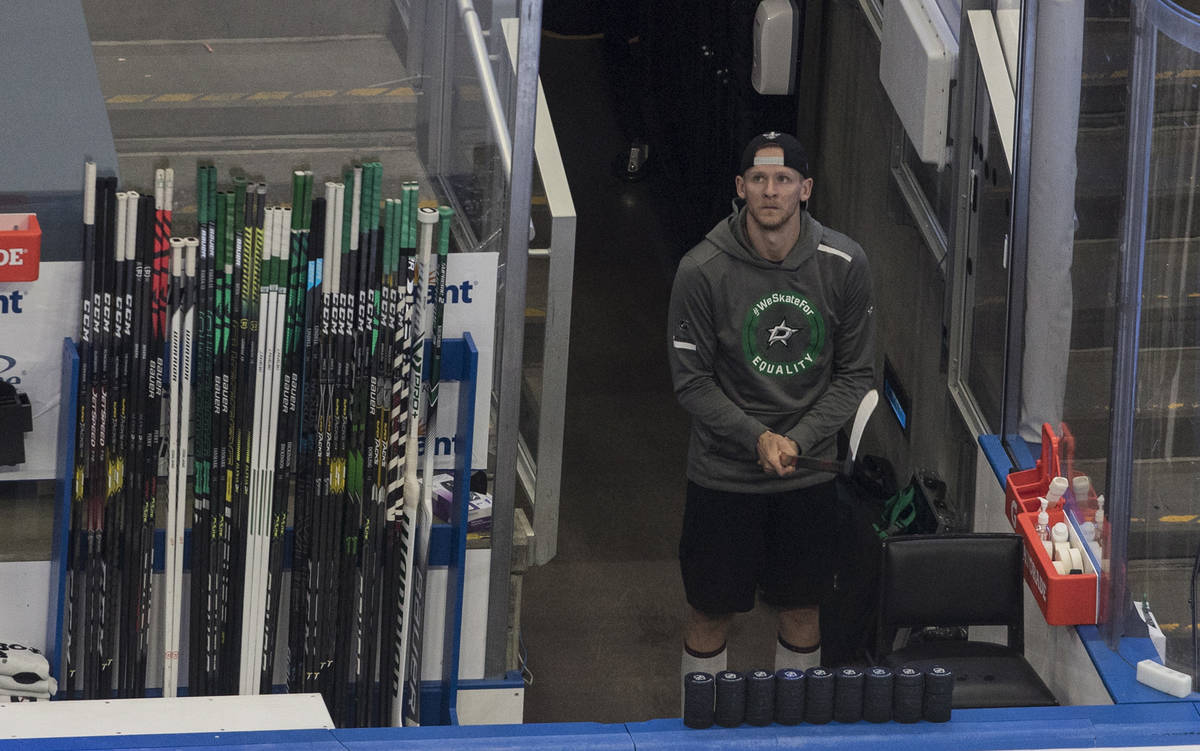 Dallas Stars' Corey Perry (10) looks out at the arena before an NHL Stanley Cup playoff hockey ...