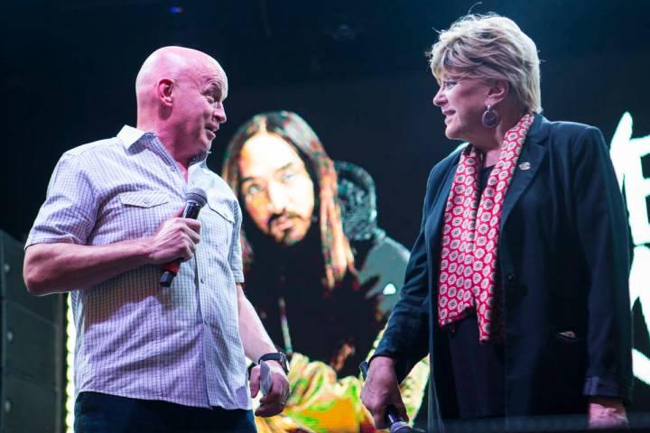 Fremont Street Experience CEO Patrick Hughes, left, and Las Vegas Mayor Carolyn Goodman speak b ...