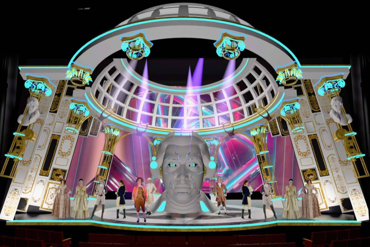 """Renderings of sets by scenic designer Andy Walmsley for the production of """"Steve Aoki Moza ..."""