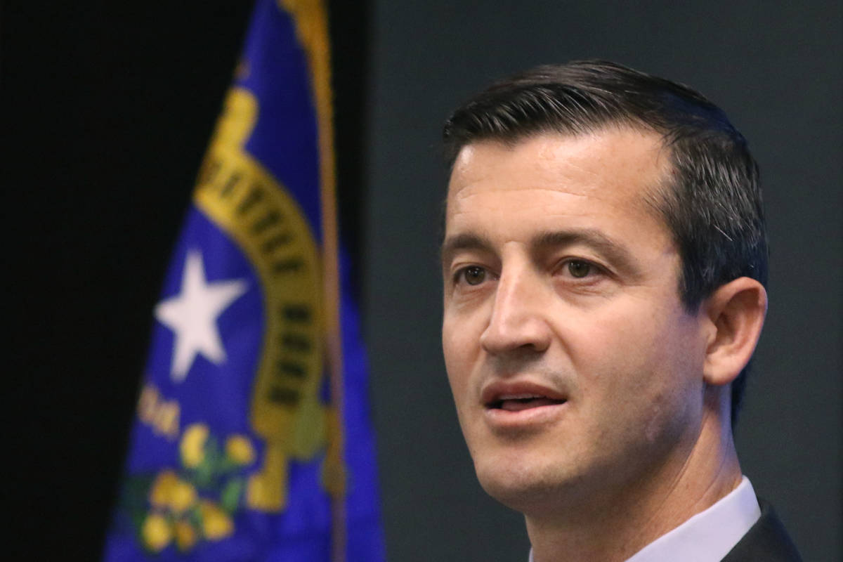 Nevada US Attorney Nicholas Trutanich speaks during a press conference on Tuesday, Aug. 27, 201 ...