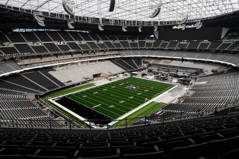 A photo released by the Las Vegas Raiders shows the nearly complete Allegiant Stadium on Friday ...