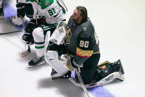 Dallas Stars' Jason Dickinson (18), Tyler Seguin (91) and Vegas Golden Knights' Ryan Reaves (75 ...