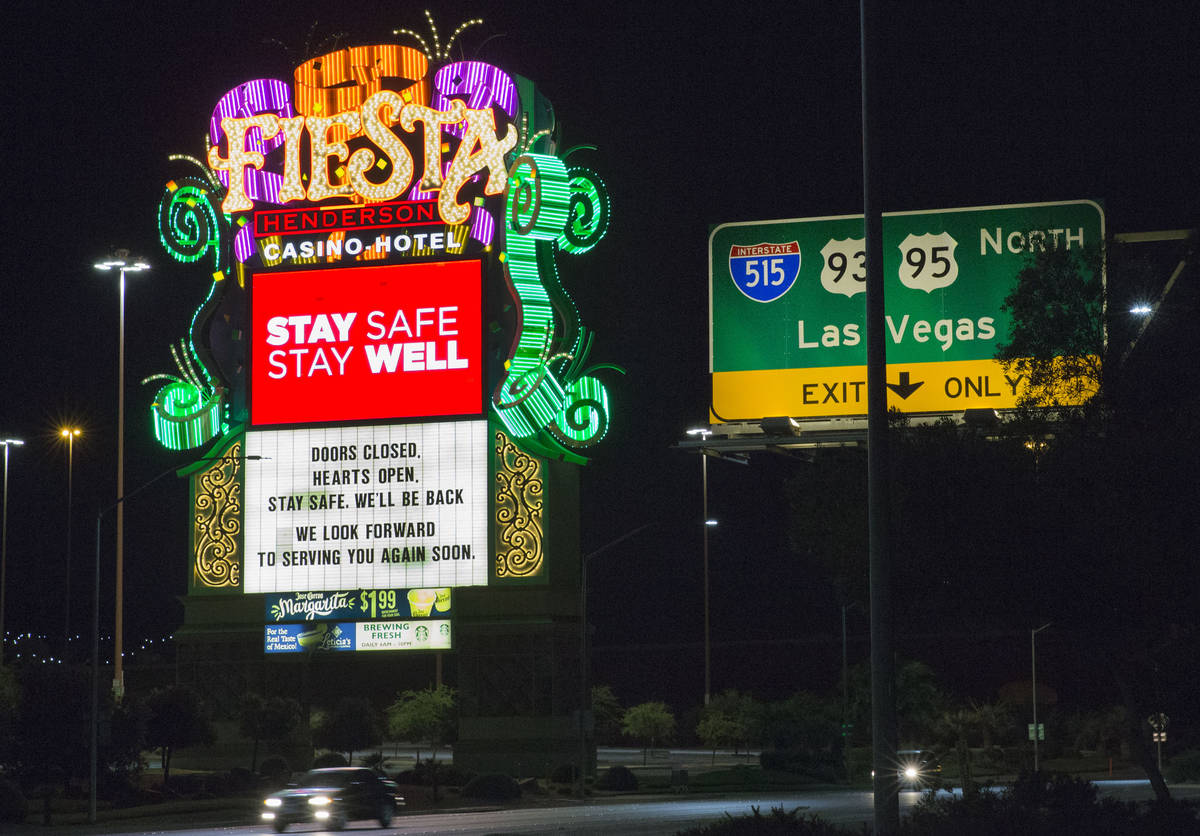 Fiesta hotel-casino photographed on Monday, May 18, 2020, in Henderson. (Bizuayehu Tesfaye/Las ...