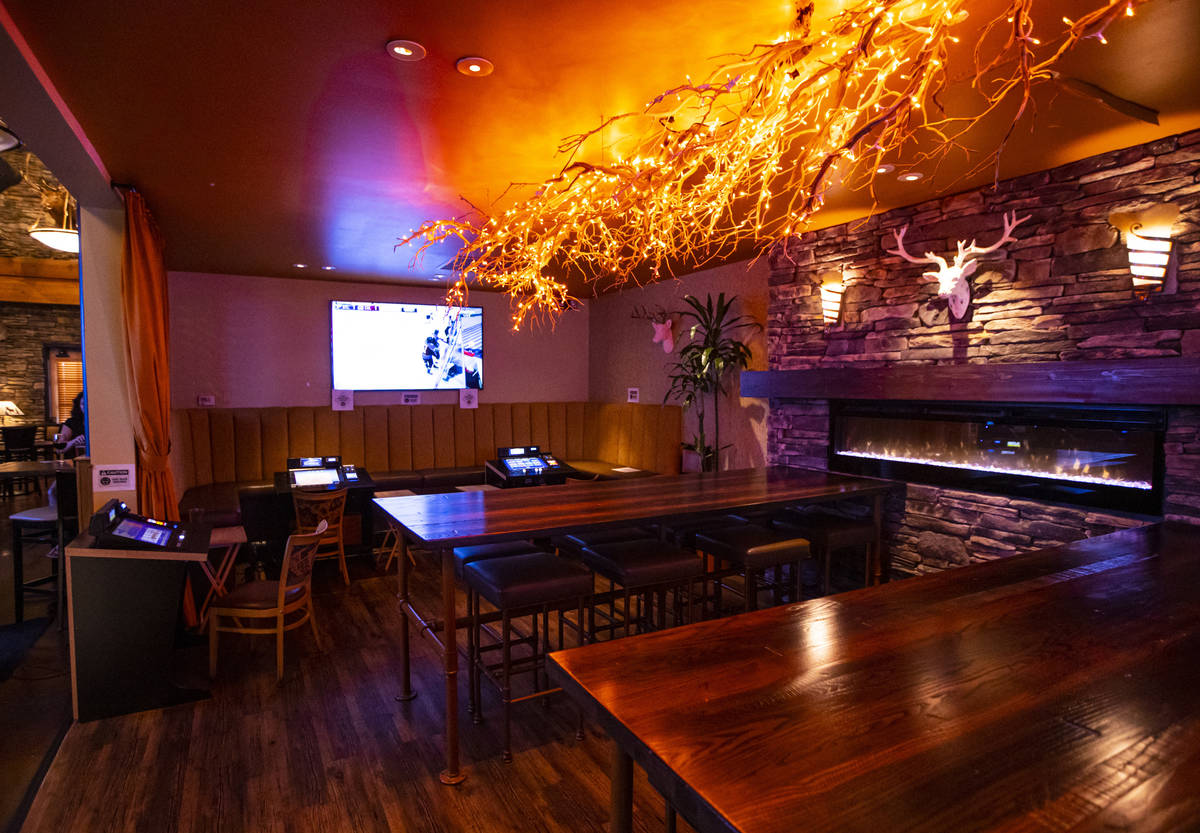 A gaming lounge area at Black Mountain Grill in Henderson on Sunday, Aug. 2, 2020. (Chase Steve ...