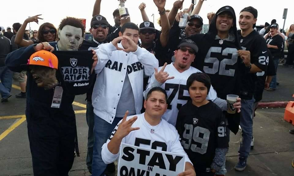 Phillip Ortiz of Albuquerque, N.M., is a diehard Raiders fan and was going to take his father t ...