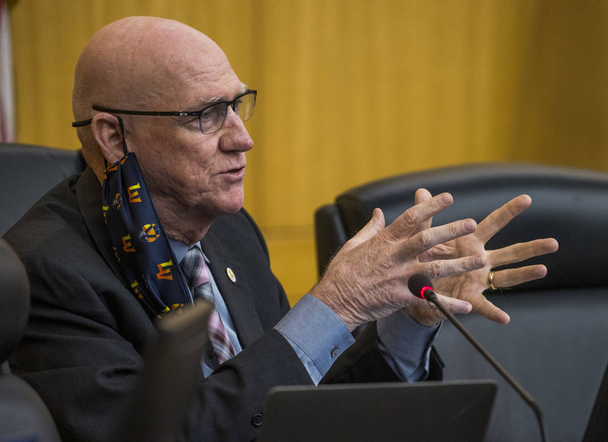 Commissioner Larry Brown speaks during a Clark County Board of Commissioners meeting about many ...