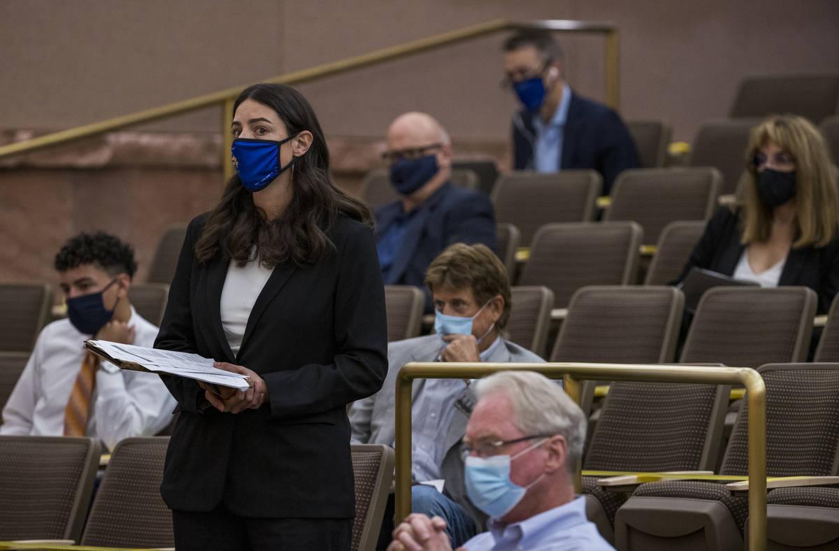 Nevada Restaurant Association representative Alexandria Dazlich speaks about capping of fees ch ...