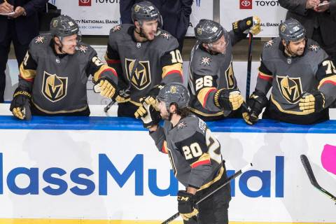 Vegas Golden Knights' Chandler Stephenson (20) celebrates a goal against the Dallas Stars durin ...