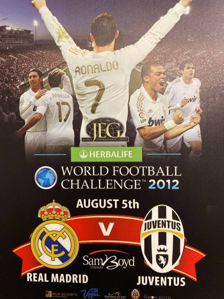 Original promotional poster for the World Football Challenge of 2012, Real Madrid vs. Juventus ...