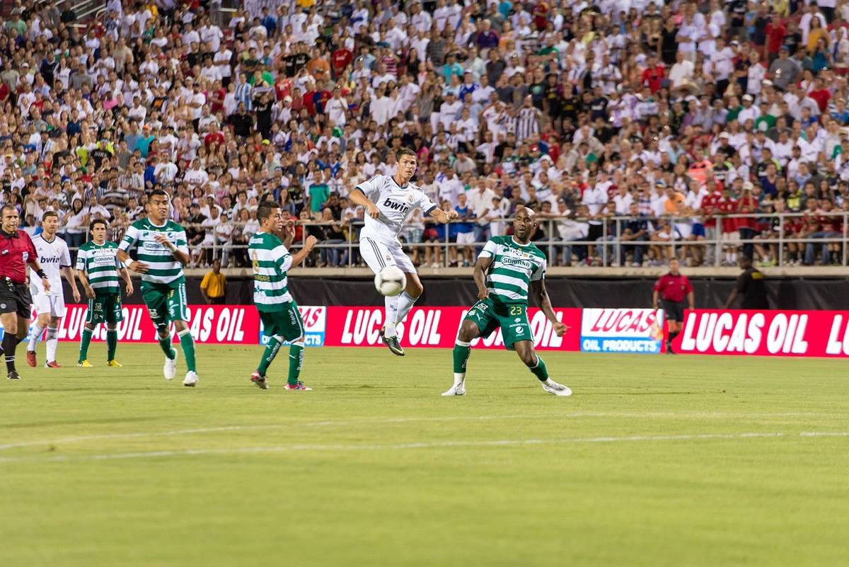 Real Madrid's Cristiano Ronaldo attacks the Santos Laguna defense during the World Football Cha ...