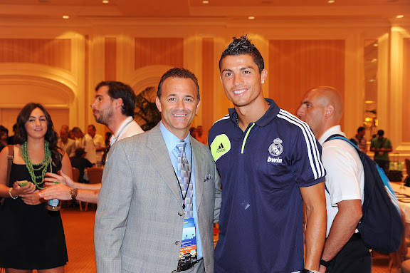 Former Sam Boyd Stadium director Daren Libonati poses with international soccer star Cristiano ...