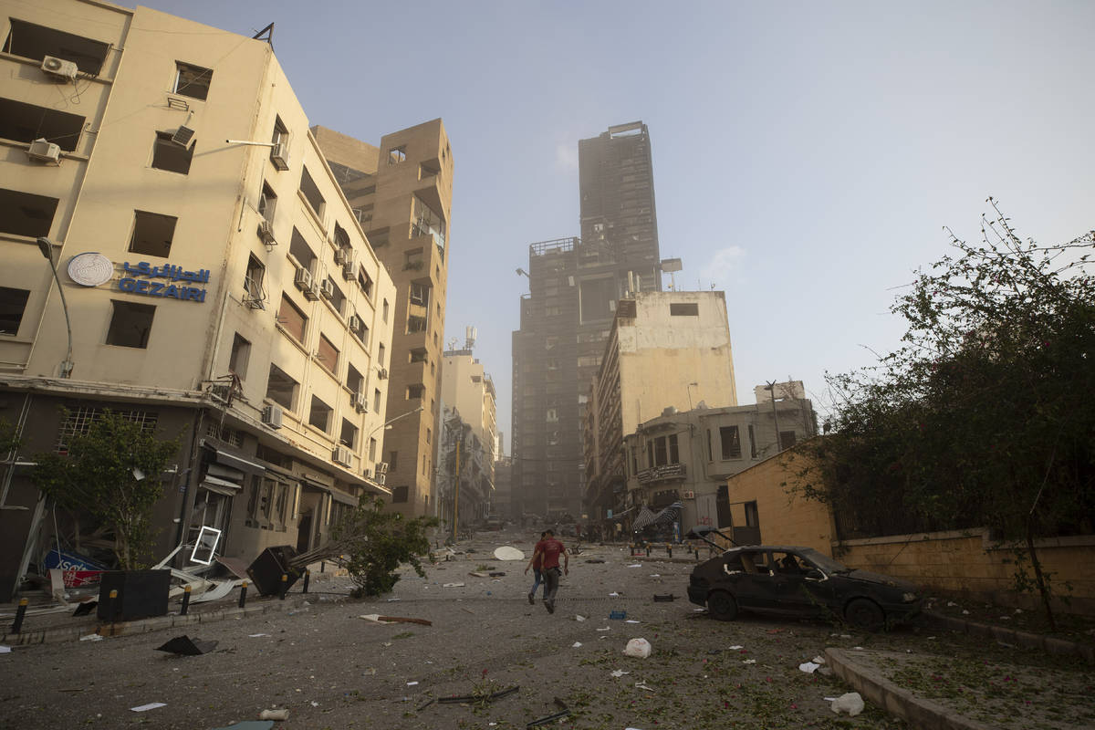 Aftermath of a massive explosion is seen in in Beirut, Lebanon, Tuesday, Aug. 4, 2020. Massive ...