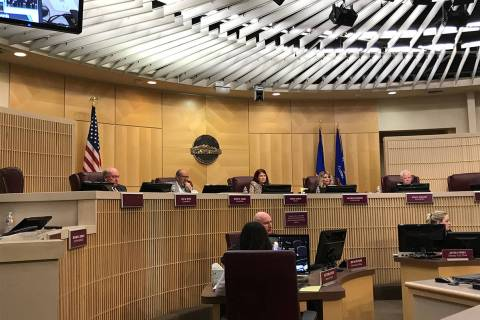 This Dec. 17, 2019, file photo shows a Henderson City Council meeting in Henderson. (Blake Apga ...