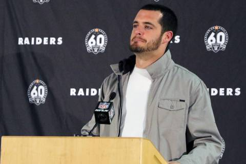 Oakland Raiders quarterback Derek Carr reacts at a postgame press conference following the team ...