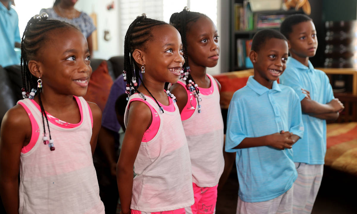 Some of the Derrico family, 6-year-old quintuplets Daiten, Daician, Deonee, Dariz and Deniko, a ...