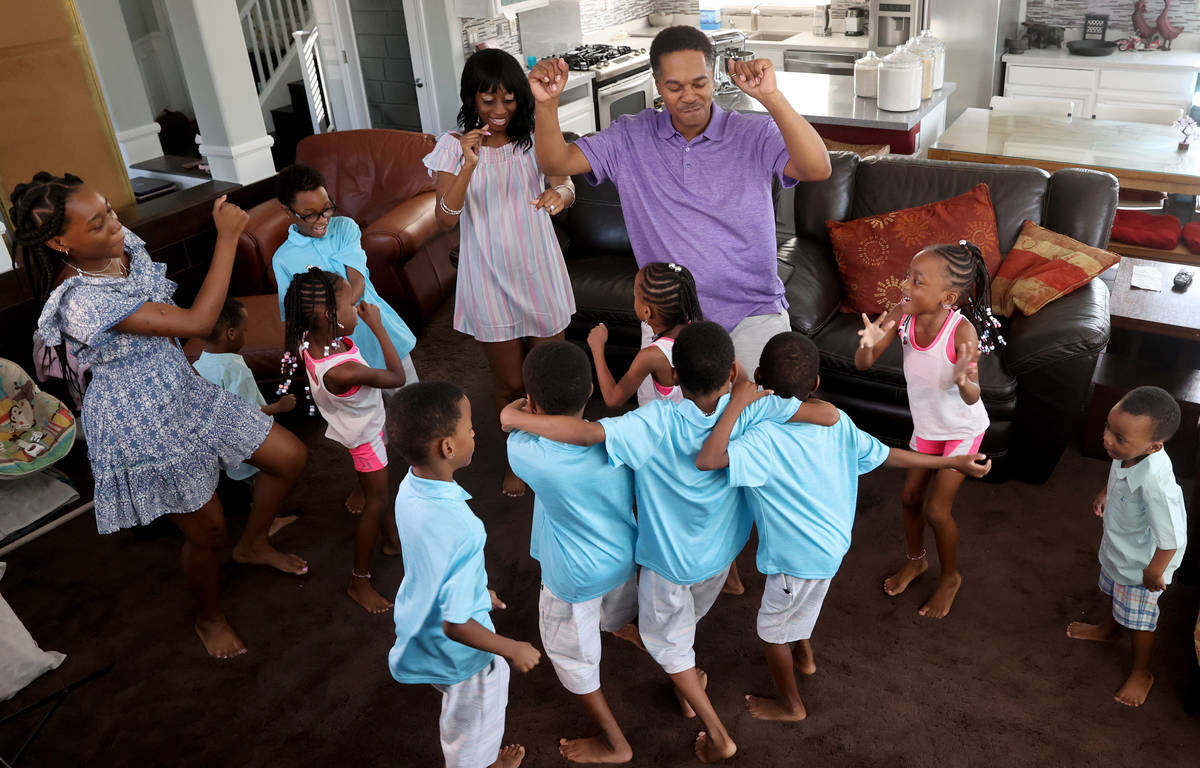 Members of the Derrico family at their North Las Vegas home Tuesday, Aug. 4, 2020. The family w ...