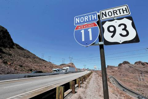 Interstate 11 near the Hoover Dam Bypass Bridge. K.M. Cannon Las Vegas Review-Journal @KMCannon ...