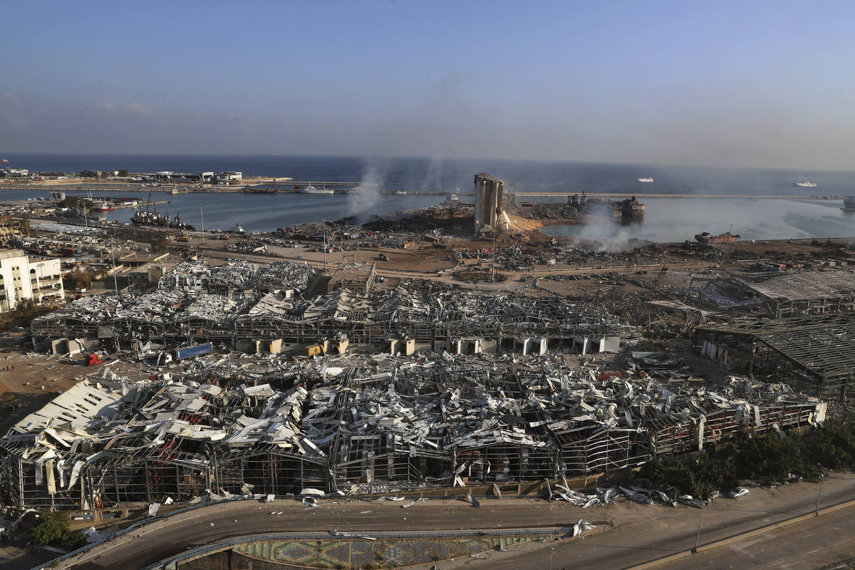 This photo shows a general view of the scene of an explosion that hit the seaport of Beirut, Le ...