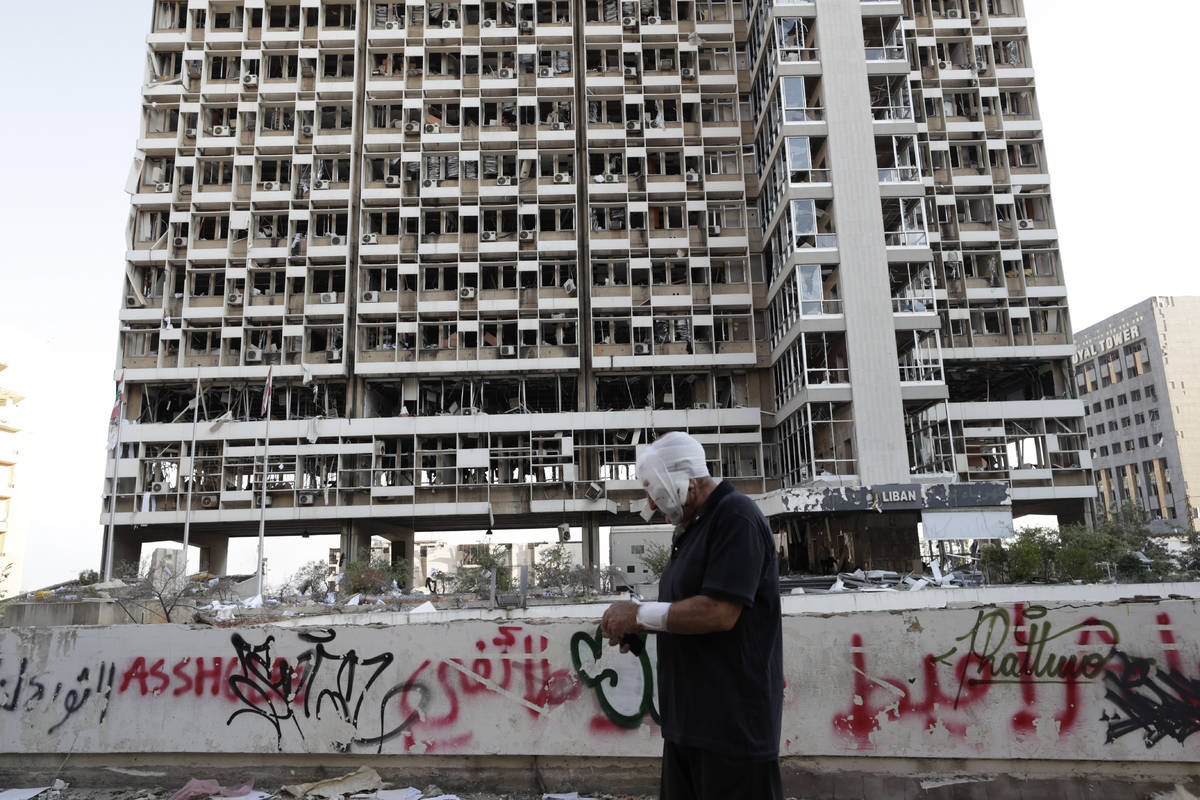 Destruction is seen after a massive explosion in Beirut, Lebanon, Wednesday, Aug. 5, 2020. The ...