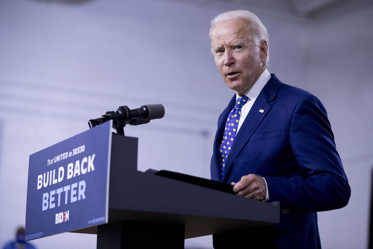In a July 28, 2020, file photo, Democratic presidential candidate former Vice President Joe Bid ...