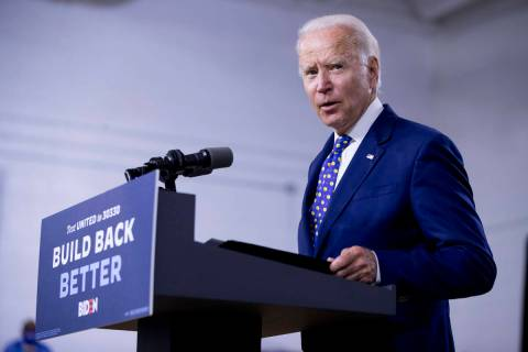 In a July 28, 2020, file photo, Democratic presidential candidate former Vice President Joe Bid ...
