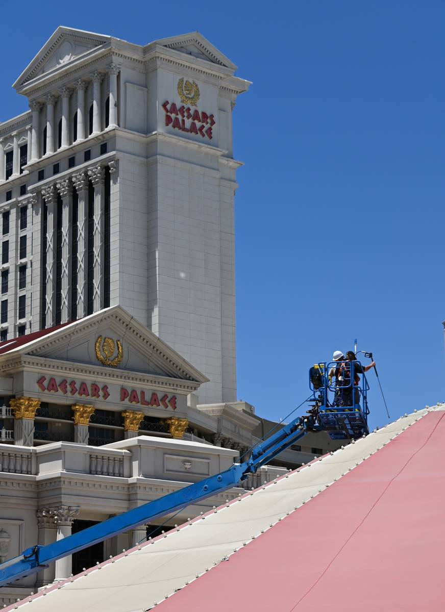 "A cleaning crew is shown cleaning the ""Absinthe"" the Spiegeltent at Caesars Palace. (Spiegelworld)"