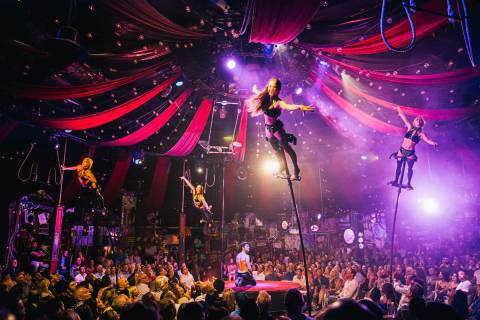 "Green Fairy's Bottle Service is shown in performance in ""Absinthe"" on June 19, 2019. (Spiegelworld)"