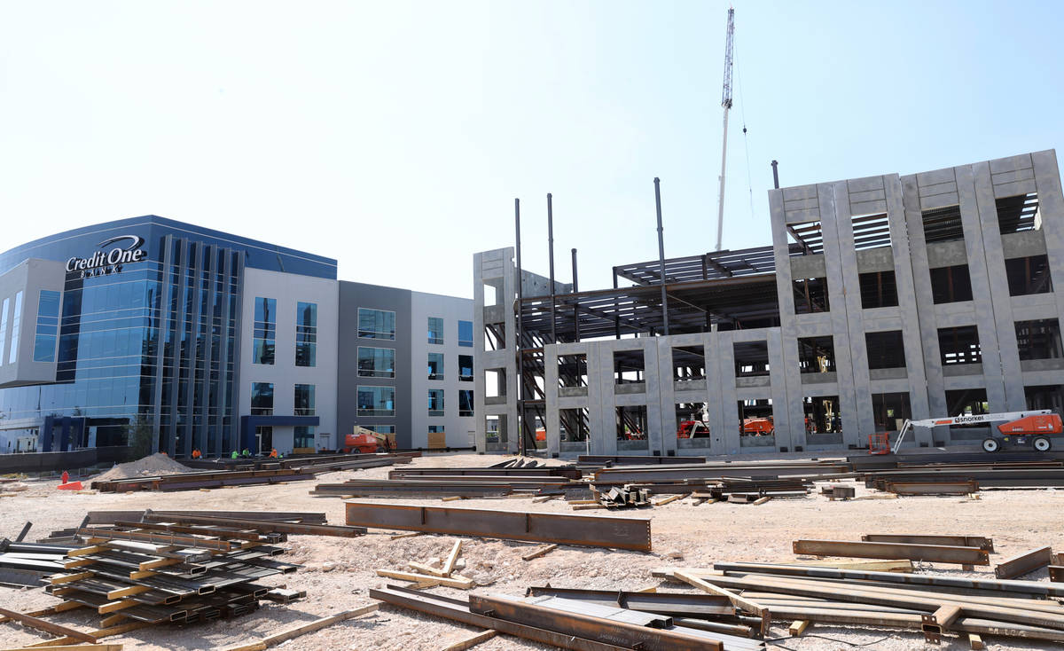Construction continues Credit One Bank's corporate campus expansion project Wednesday, Aug. 5, ...