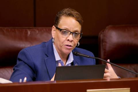 Sen. Pat Spearman, D-North Las Vegas, asks a question during a Health and Human Services Commit ...