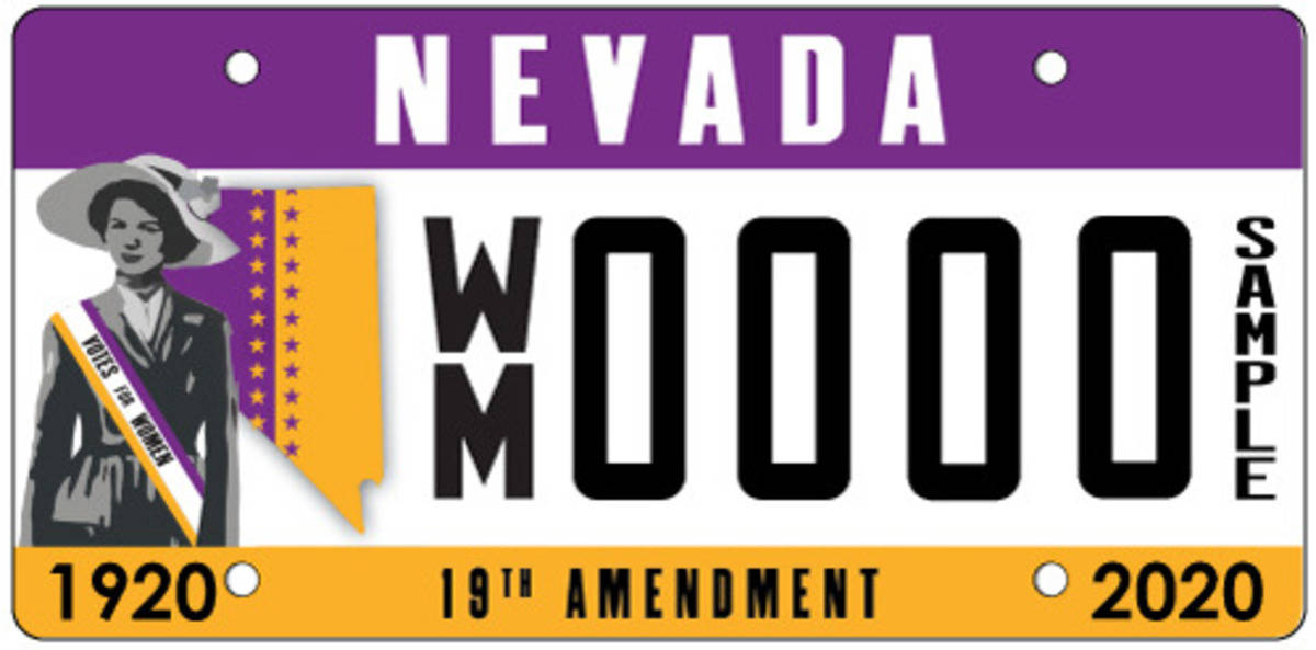 Nevada is releasing a specialty license plate to commemorate the 100th anniversary of women&#x2 ...