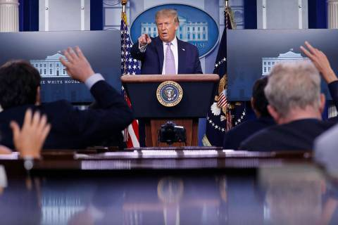 President Donald Trump speaks during a briefing with reporters in the James Brady Press Briefin ...