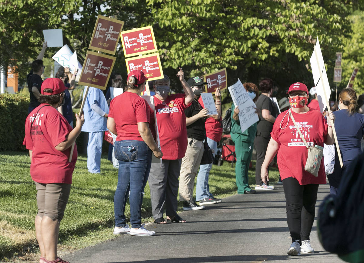 Nurses and supporters picket outside of St. Rose Siena Hospital calling for more nurses to impr ...
