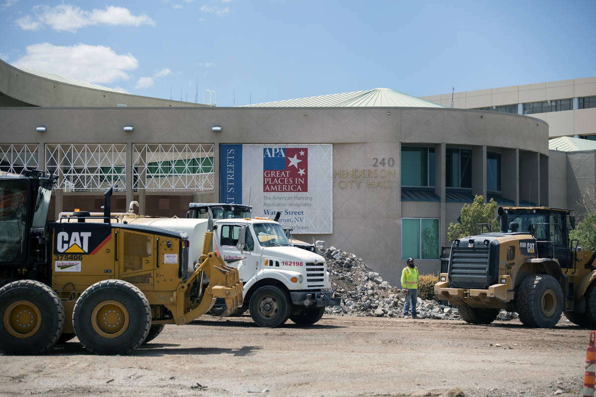 Construction continues on Henderson City Hall's entrance and plaza on Tuesday, Aug. 11, 2020. ( ...