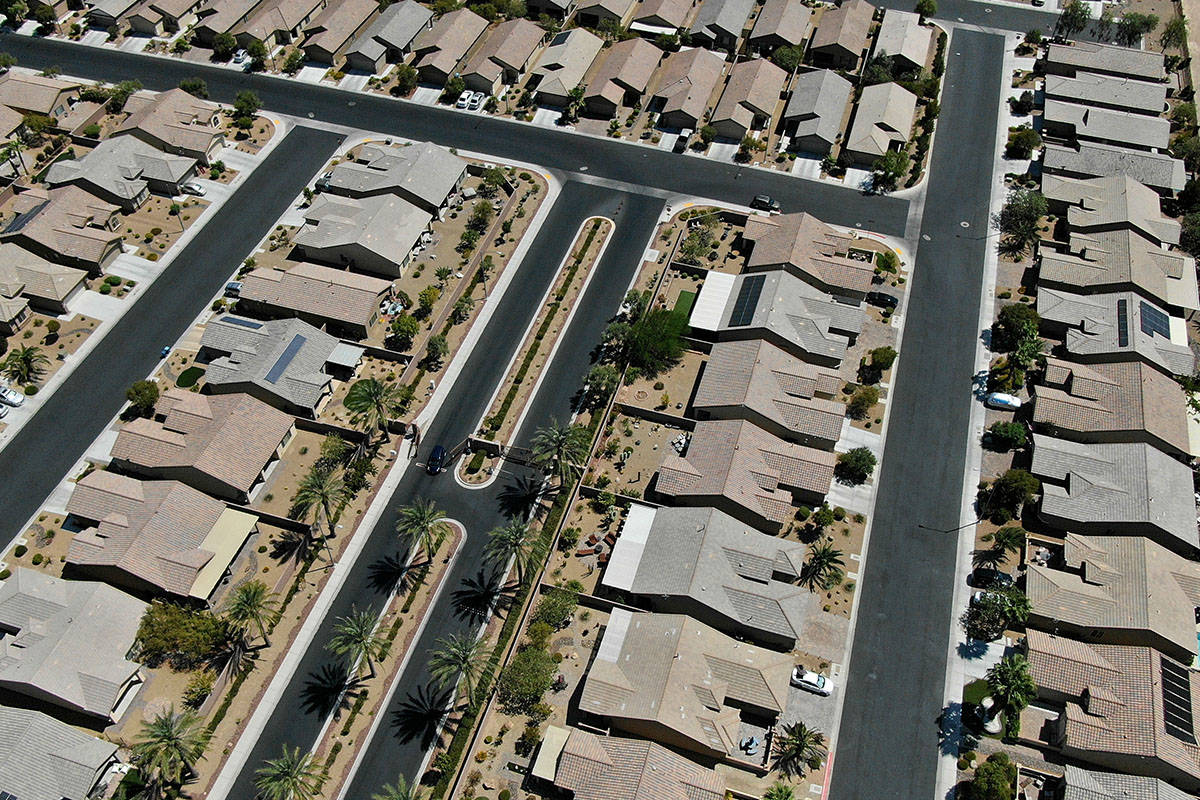 An aerial view of Solera a housing development near East Desert Inn Road and Theme Road in east ...