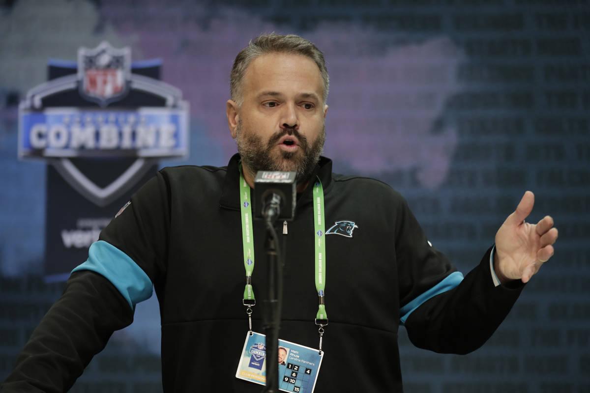 FILE - In this Feb. 25, 2020, file photo, Carolina Panthers head coach Matt Rhule speaks during ...