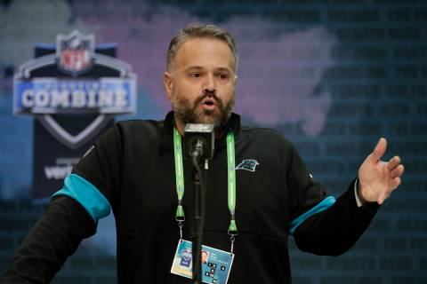 FILE - In this Feb. 25, 2020, file photo, Carolina Panthers head coach Matt Rhule speaks during ...