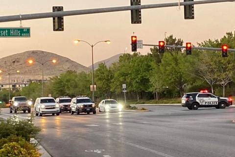 Police respond to a barricade situation in the southwest Las Vegas Valley on Thursday, Aug. 6, ...
