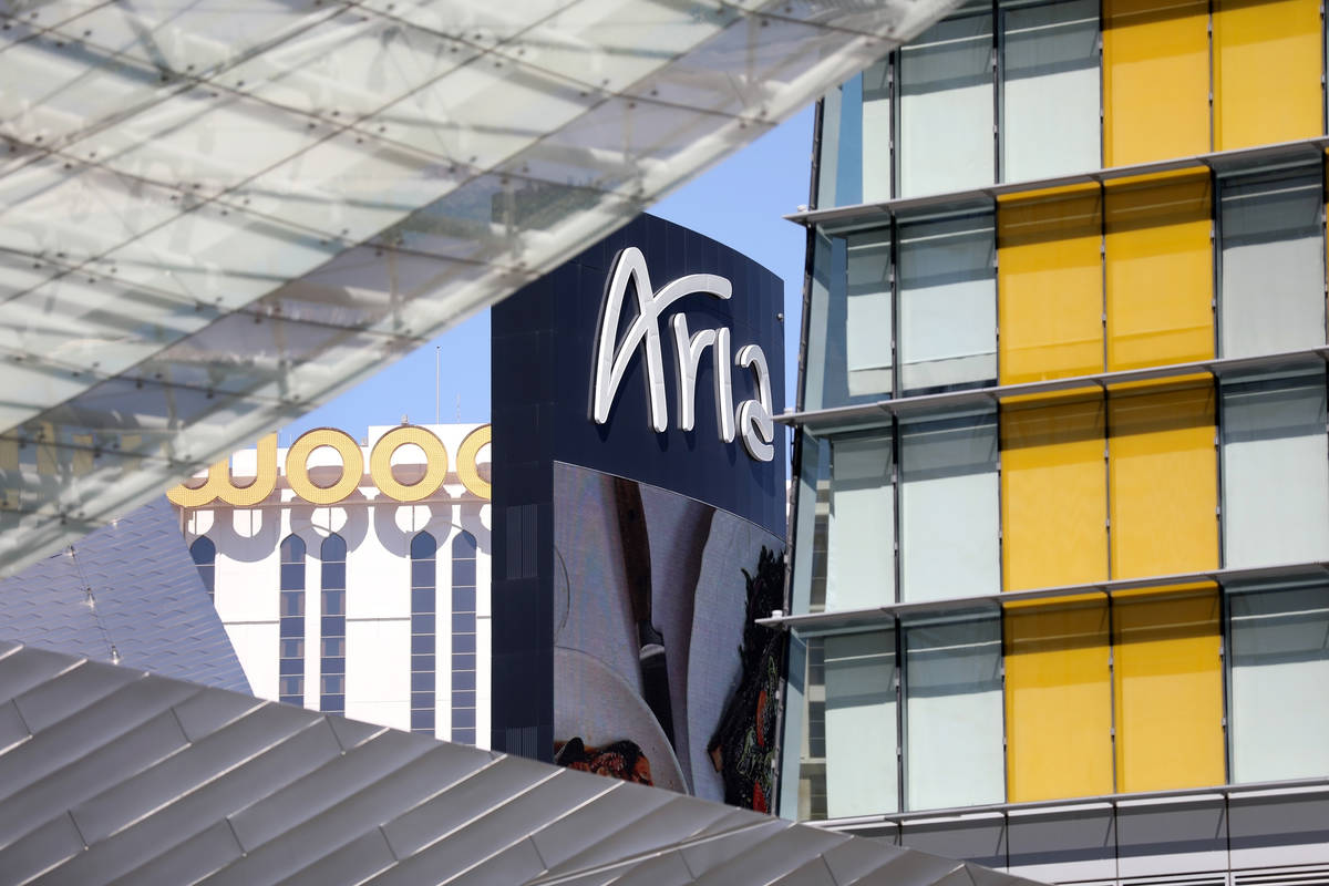 A view of Aria on the Las Vegas Strip, Thursday, Aug. 6, 2020, in Las Vegas. (Elizabeth Brumley ...