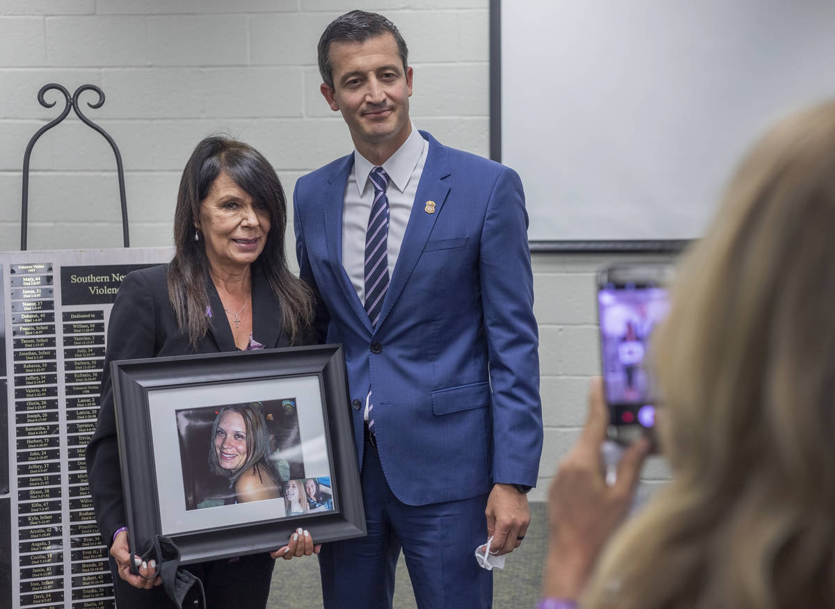 """Rose Floyd, left, and Nevada U.S. attorney Nicholas Trutanich, are photographed after """"Projec ..."""