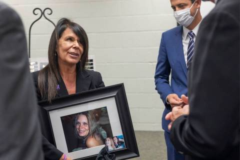 "Rose Floyd is congratulated after ""Project Veronica"" was announced at the Southern Nevada Famil ..."