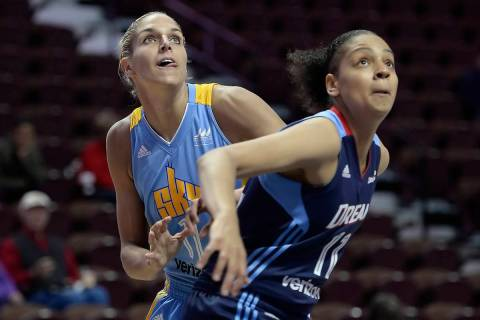 Chicago Sky's Elena Delle Donne, left, and Atlanta Dream's Cierra Burdick during ...