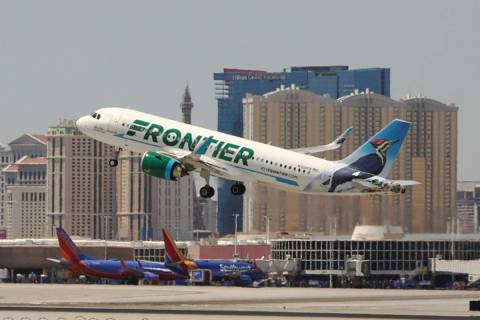 A Frontier airlines flight departs for takeoff at McCarran International Airport on Wednesday, ...