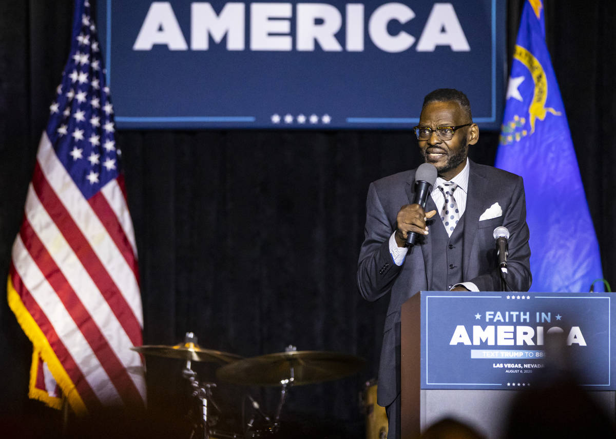 """Bishop Harry Jackson, of Hope Christian Church, speaks during an """"Evangelicals for Trump&q ..."""