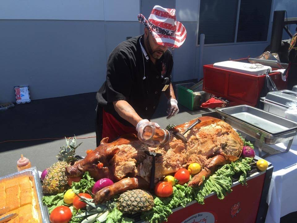 Timothy Hanson catering an event for Rollin Smoke Barbeque in 2014. (Tai Hanson)