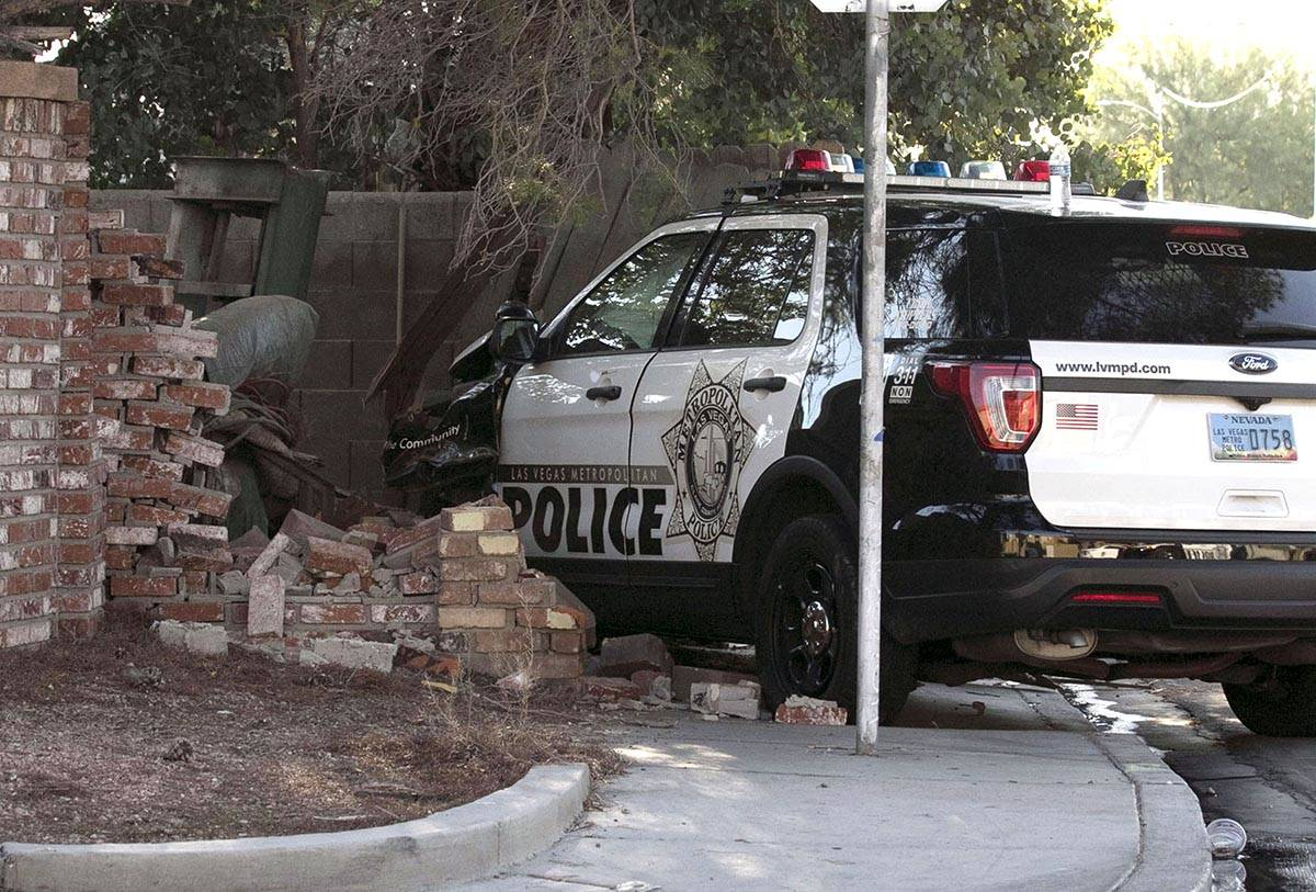 A Las Vegas police unit crashed into a wall during pursuit at Arville Street and El Camino Aven ...
