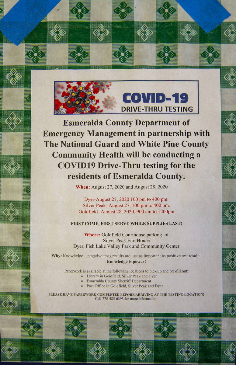 A new flyer for upcoming COVID-19 testing on a table in the Dinky Diner in Goldfield along I-95 ...